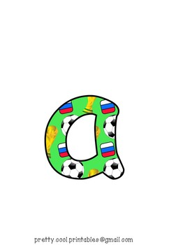 Printable display bulletin letters numbers and more: Russia World Cup Football
