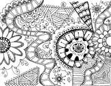 Printable Relaxing Zen Tangle coloring pages