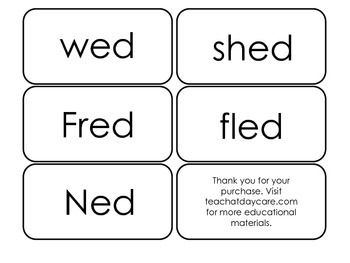 Printable ~ed Word Families Flash Cards.  Prints 10 cards.  Literacy Basics.