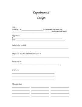 Printable for experimental design template by leann brown tpt for How to plan and design an experiment