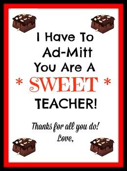 Printable for Teacher Appreciation week
