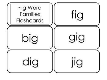 Printable ~ig Word Families Flash Cards.  Prints 10 cards.  Literacy Basics.