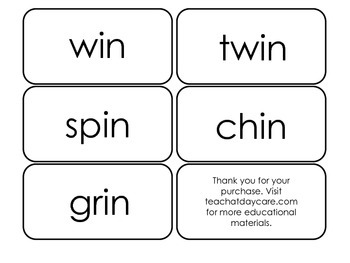Printable ~in Word Families Flash Cards.  Prints 10 cards.  Literacy Basics.