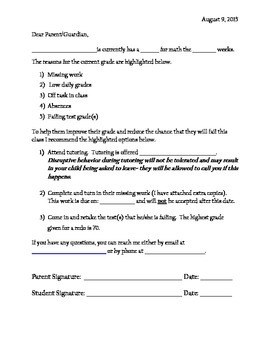 Printable letter to parents about student failing class