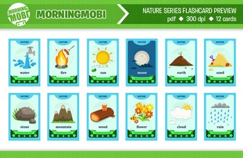 Printable nature flash cards for children