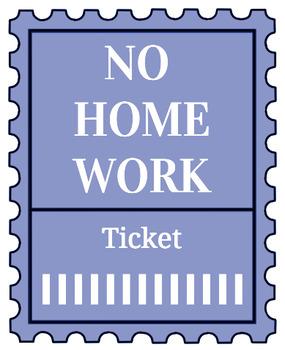 Printable no homework tickets (blue)