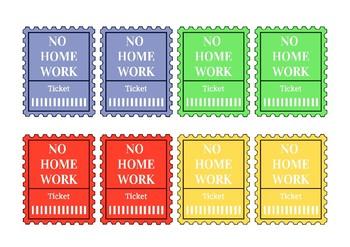 Printable no homework tickets bundle