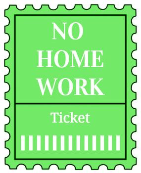 Printable no homework tickets (green)