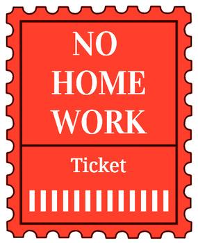 Printable no homework tickets (red)