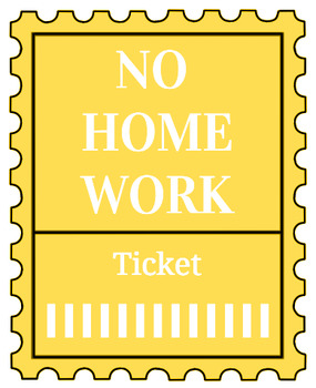 Printable no homework tickets (yellow)