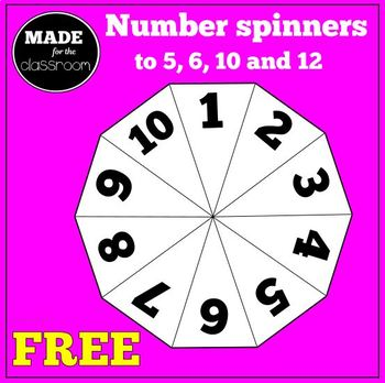 Printable number spinners (to 5, 6, 10 and 12)