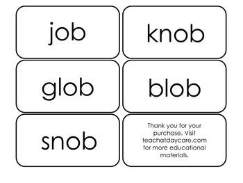Printable ~ob Word Families Flash Cards.  Prints 10 cards.  Literacy Basics.