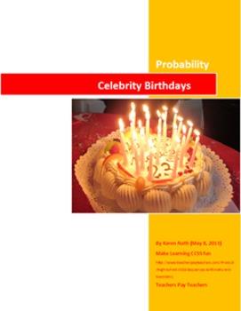 Printable (only) Fun Celebrity Birthday Probability Activity