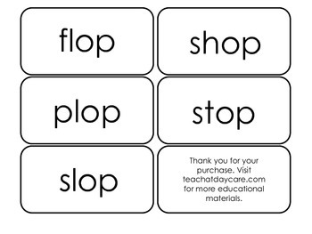Printable ~op Word Families Flash Cards.  Prints 10 cards.  Literacy Basics.
