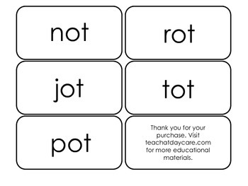 Printable ~ot Word Families Flash Cards.  Prints 10 cards.  Literacy Basics.
