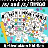 Printable /s/, /s/ blends, and /z/ Articulation BINGO Games Speech Therapy S Z