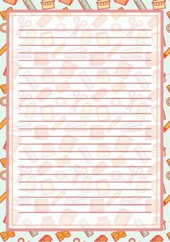 Printable stationary school supplies design