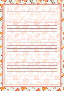 Printable stationery school supplies design