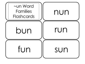 Printable ~un Word Families Flash Cards.  Prints 10 cards.  Literacy Basics.