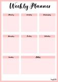 Printable weekly planner portrait in Pink