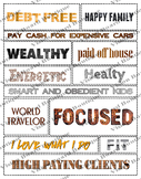 Printable words Rustic Collection vision board sheets, affirmations, positivity
