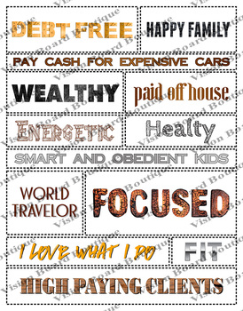 Printable words Rustic Collection vision board sheets, affirmations ...