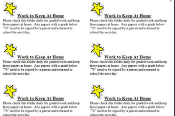 "Printable ""work to keep at home"" labels"