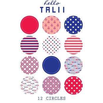 4th of July Round Stickers and Square Labels