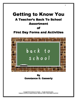 Back to School Forms:Back to School Assortment of First Da