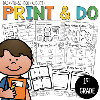 Printables Back to School (August)  Print and Do- No Prep Math & Literacy 1st