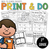 1st Grade Back to School (August) NO PREP Morning Work Worksheets