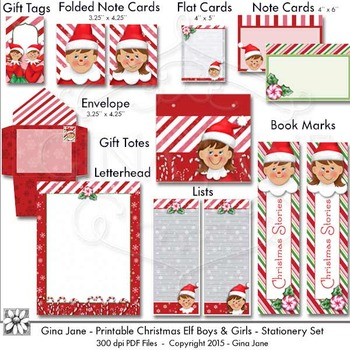 Printables - Christmas Elf Theme Paper Crafts by Gina Jane