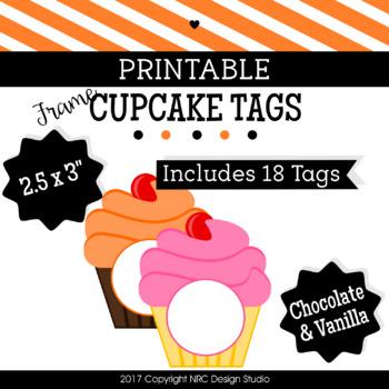 Printables Tags, Frame Printable, Cupcake Frame Printable - Class Decoration