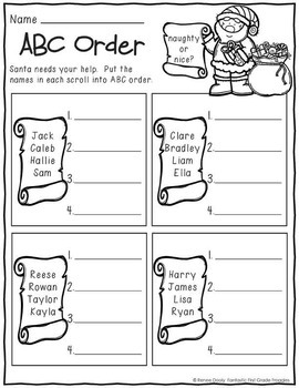 Printables December  Print and Do- No Prep Math & Literacy 1st Grade