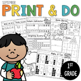 1st Grade Morning Work NO PREP September Worksheets