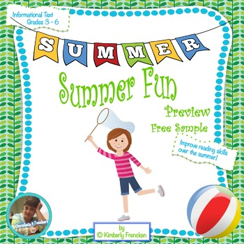 Summer Fun: FREE Printables and Reading Task Cards