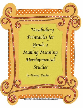 Printables for Making Meaning's Vocabulary Curriculum
