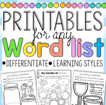 Word Work Printables for any Word List Home Learning Printable Distance Learning