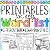Word Work Printables for any Word List Home Learning Print