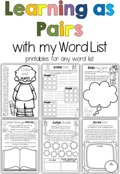 Printables for any Word List Part Four: Learning as Pairs