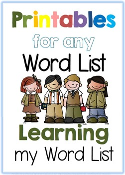 Printables for any Word List Part One: Learning my Word List