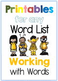 Printables for any Word List Part Two: Working with Words