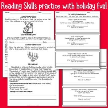 Holiday Themed No Prep Printables for Second Grade