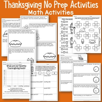 Thanksgiving No Prep Literacy and Math Activities
