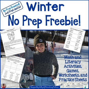 Winter No Prep Printables Freebie - Literacy and Math Fun!