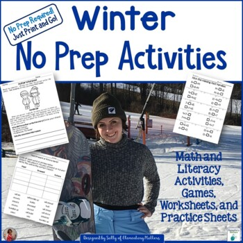Winter No Prep Printables - Literacy and Math Fun!