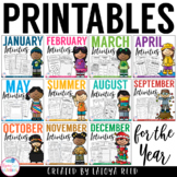 Monthly Printables for Literacy and Math