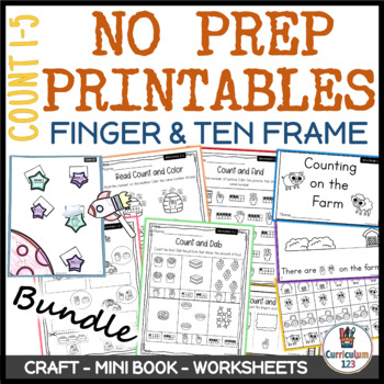 Printables1.1: Counting 1-5 Using Fingers & Ten Frames Worksheets & Exit Tickets