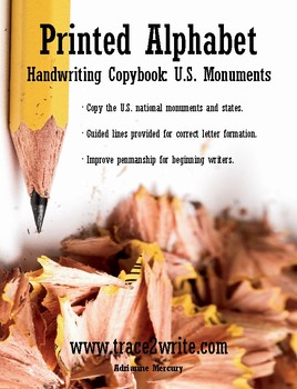 Printed Alphabet Handwriting Copybook U.S. Monuments