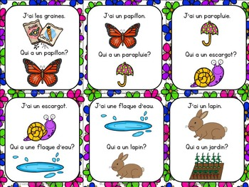 Printemps:  Spring Themed Vocabulary Game in French - J'ai...Qui a...?